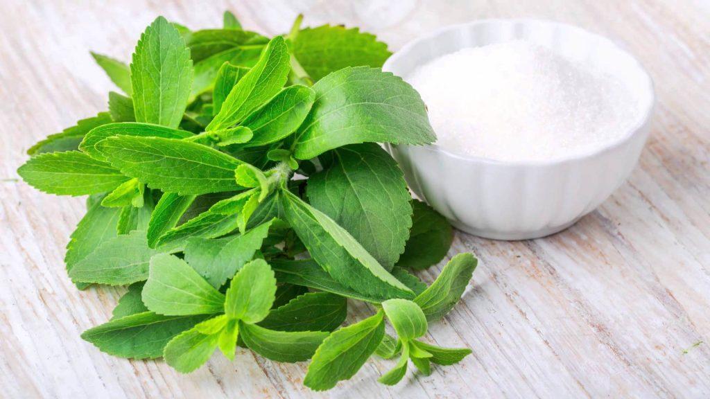 Uma taça de açúcar e planta Stevia.